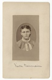 This is a portrait of Catherine (Kate) Elizabeth German, who was taken captive with her younger sisters, Sophia, Julia, and Adelaide, by Cheyenne Indians after their family was killed. Kate was born on March 21, 1857. On September 11, 1874, the John German family, consisting of his wife and seven children, was attacked by a band of Cheyenne east of Ft. Wallace, Kansas. Only four of the children, Catherine, Sophia, Julia, and Adelaide, were spared and taken captive. The two youngest, Julia and Adelaide (aged 7 and 5), were subsequently abandoned on the prairie in what is now the Texas panhandle. Sophia and Catherine were kept by their Cheyenne captors. Fort Wallace received word of the killings and began the search to find the girls and to negotiate their release. They found Julia and Adelaide, who had survived on their own for 6 weeks, and on March 1, 1875, the Cheyennes formally released Catherine and Sophia German at the Darlington Agency in Indian Territory (Oklahoma). The two girls were reunited with their younger sisters at Ft. Leavenworth, Kansas in June of 1875.