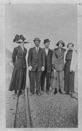 Group portraits on Sheridan County railroad tracks