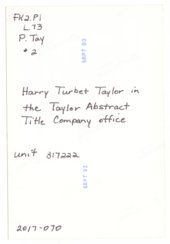 Harry Turbet Taylor in the Taylor Abstract Title Company office in Larned, Kansas