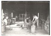 Three photographs of John Ellis' blacksmith shop in Benedict, Wilson County, Kansas