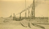 Atchison, Topeka &Santa Fe Railway bridge construction, Abo Canyon, New Mexico