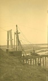 Atchison, Topeka & Santa Fe Railway Company bridge construction, Abo Canyon, New Mexico