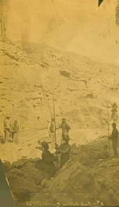 Rock drilling at mile 43, Abo Canyon, New Mexico