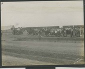 Spectators gathered at new foundation for the Rutledge Hotel in Sublette, Kansas