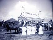 Parade float advertising the Exchange Hotel, Ashland, Kansas