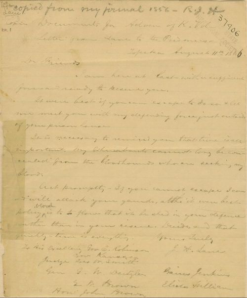 James H. Lane to Charles Robinson and others, and Charles Robinson's reply - Page