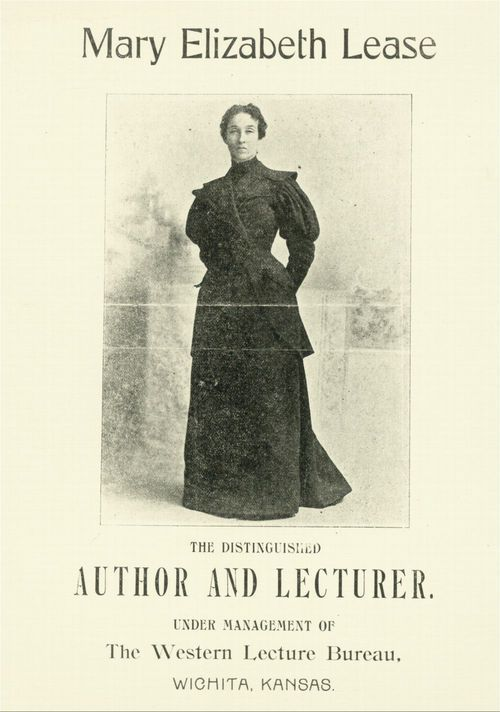 Image of an advertising pamphlet promoting Mary Elizabeth Lease as a popular lecturer