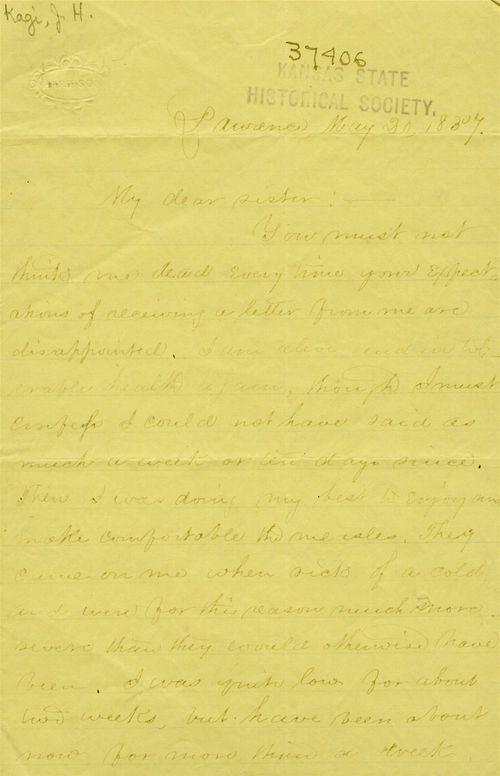 J. H. Kagi to his sister - Page