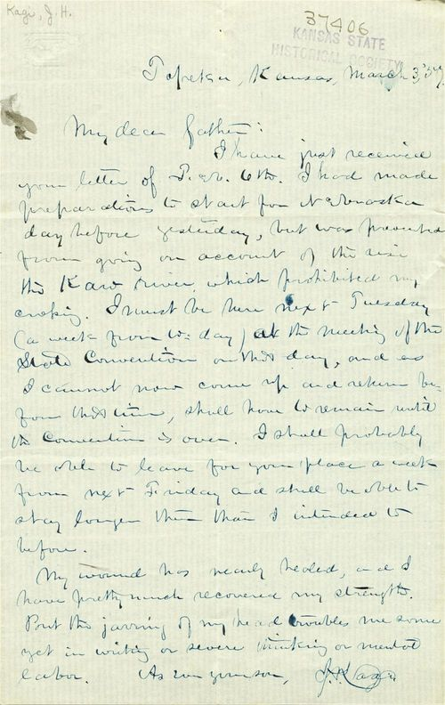 "J. H. Kagi to ""My dear father"" - Page"