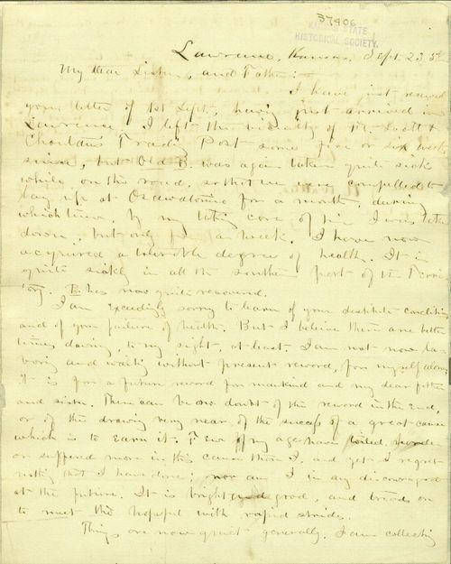 J. H. Kagi to his sister and father - Page