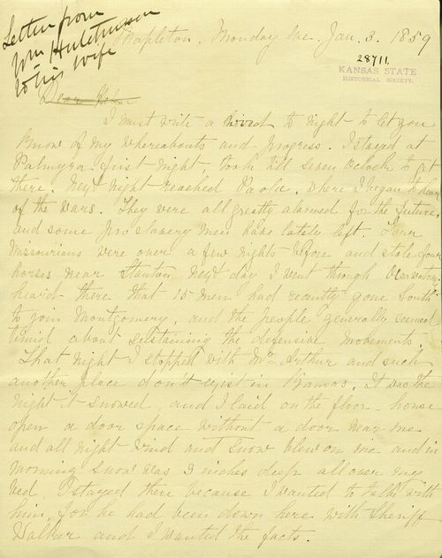 William Hutchinson to Helen Hutchinson - Page