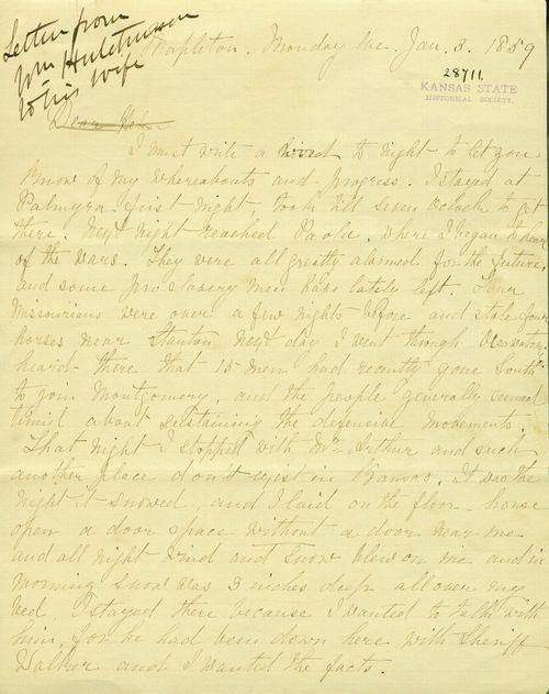 William Hutchinson to Helen Hutchinson - Page