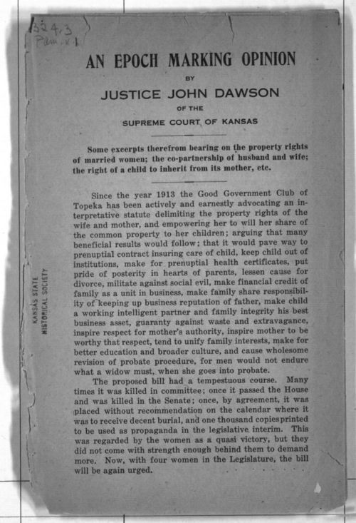An epoch marking opinion by Justice John Dawson of the Supreme Court of Kansas - Page