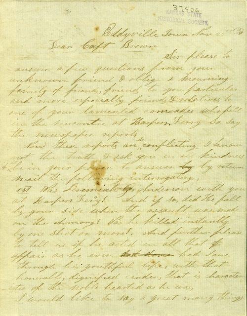 John Q. Anderson to John Brown - Page