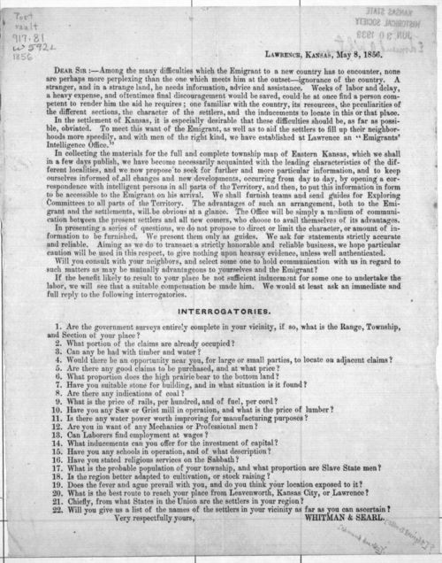 Public letter with Interrogatories, 1856 - Page