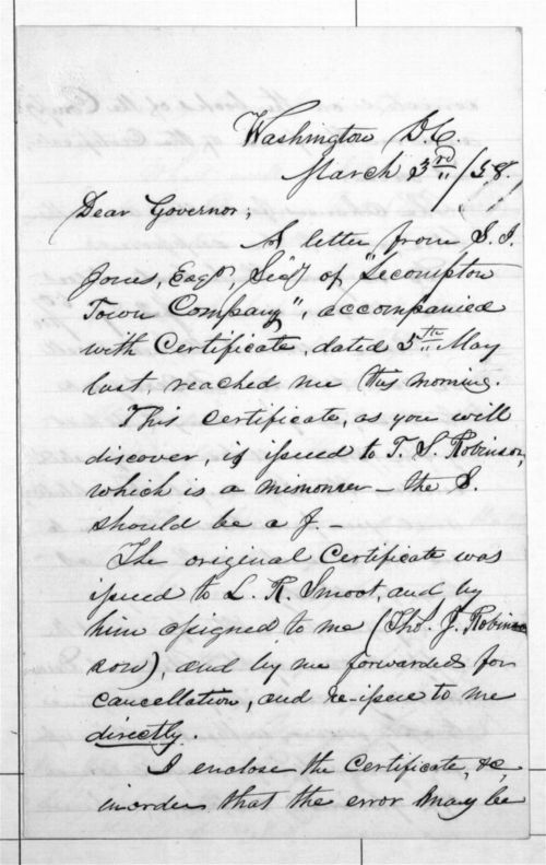 T.J. Robinson to Governor - Page