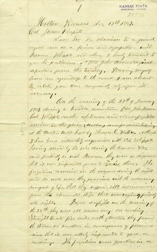 William F. Creitz to  James Redpath - Page