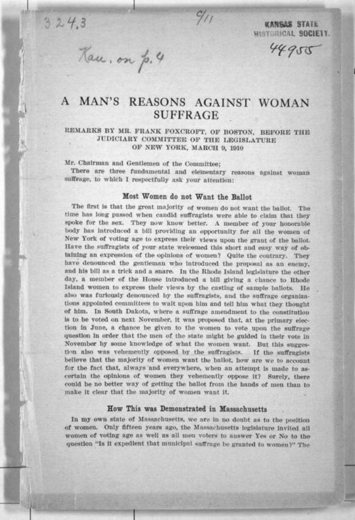 A Man's Reasons Against Woman Suffrage - Page