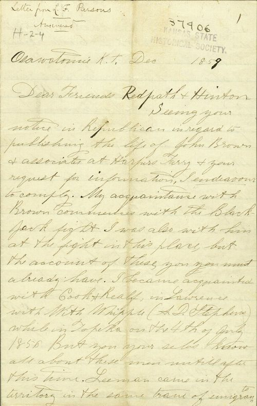 Luke F. Parsons to James Redpath and Richard Josiah Hinton - Page