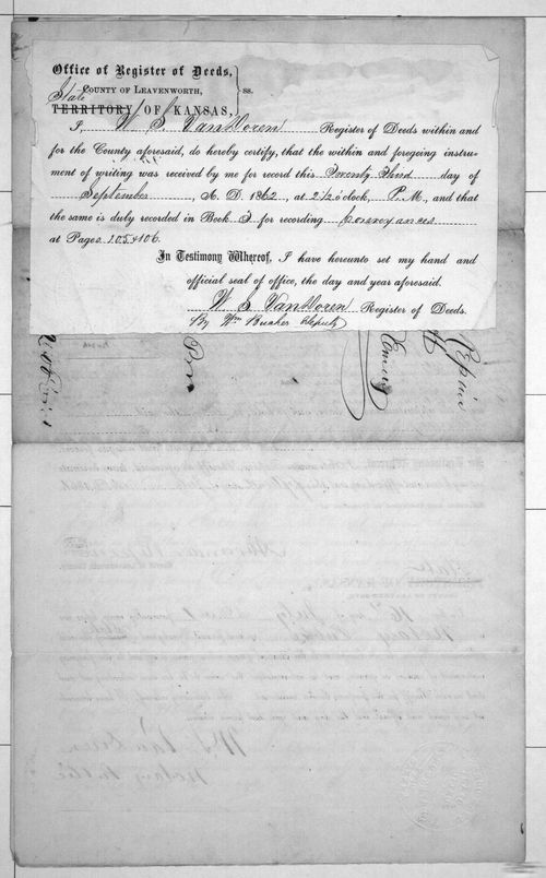 Court document conveying property to James S. Emery - Page