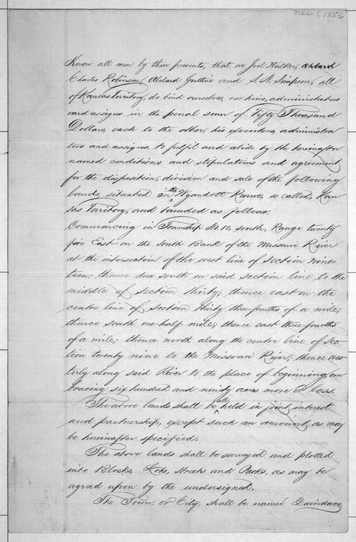 Quindaro Town Company agreement - Page