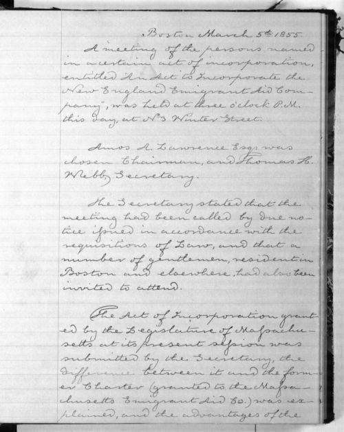New England Emigrant Aid Company special meeting minutes - Page