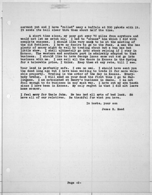 James R. Mead to his mother - Page
