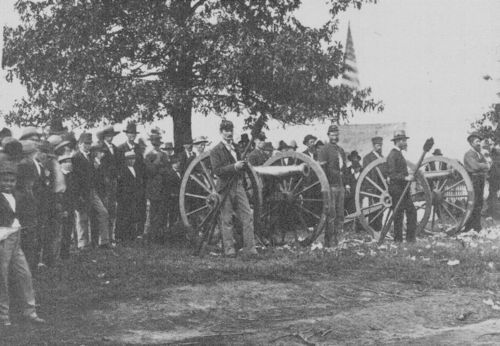 Army Battery at an old settlers meeting, Bismarck Grove, - Page