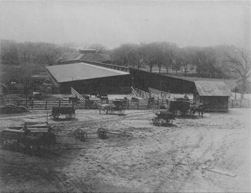 Corrals and barn of the old fairgrounds at Bismarck Grove, Kansas - Page