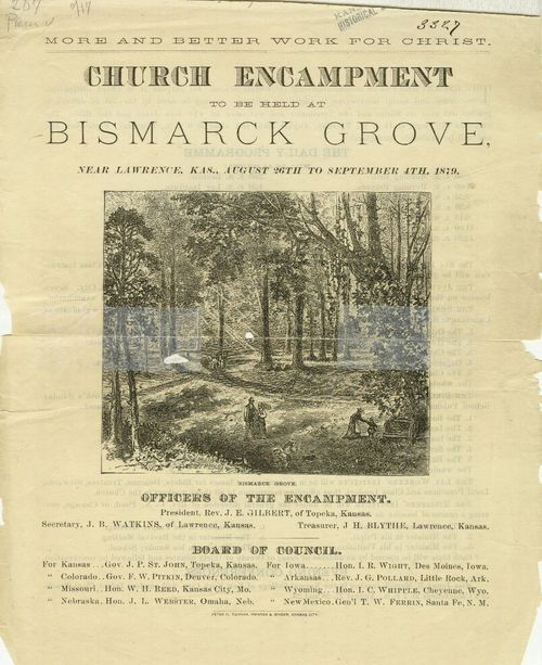 Church Encampment to be held at Bismarck Grove near Lawrence, Kansas - Page
