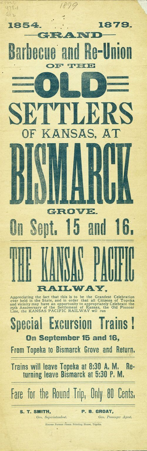 Grand barbecue and re-union of the Old Settlers of Kansas, at Bismarck Grove - Page