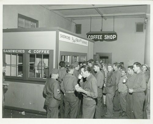 Troops having a coffee break, Needles, California - Page