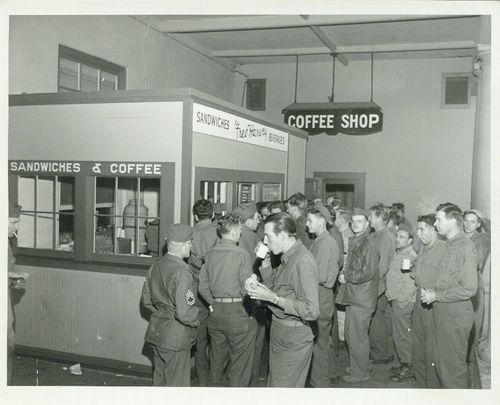 Troops having a coffee break, Needles, California - Page