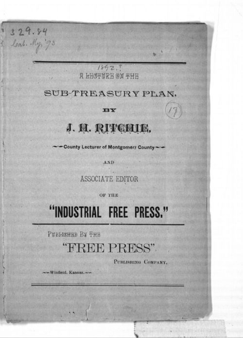 J. H. Ritchie's lecture on the sub-treasury plan - Page