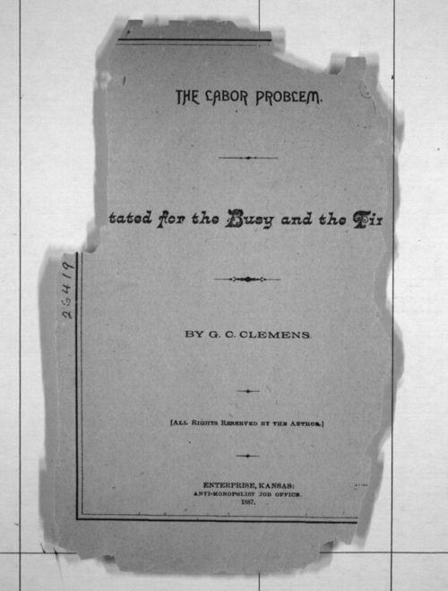 Gaspar Christopher Clemens, The Labor Problem - Page