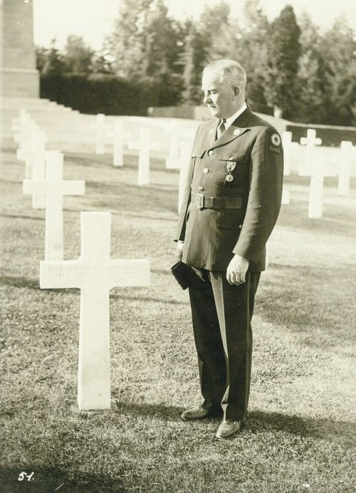 Harry Walter Colmery at a World War I cemetery in Europe. - Page