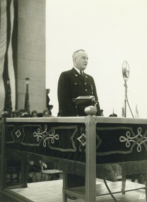 Harry Walter Colmery speaking at the Montsec Memorial Dedication, Montsec, France, August 3, 1937 - Page