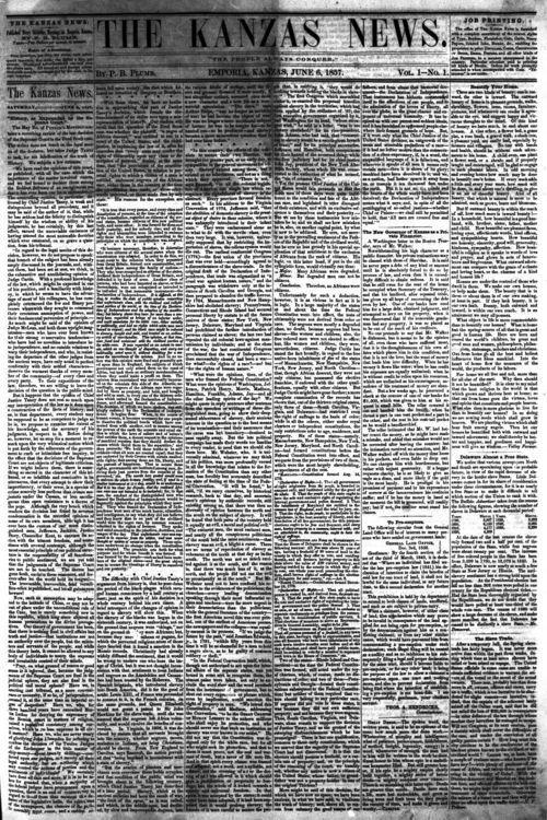 Kanzas News, Vol 1, no. 1, page 1 - Page