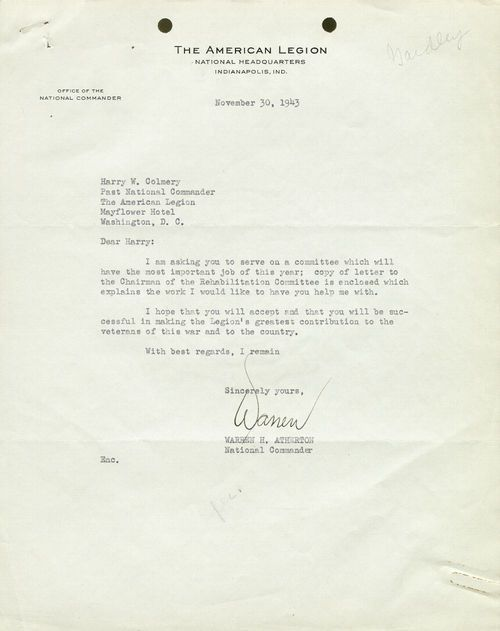 Warren H. Atherton to Harry W. Colmery - Page