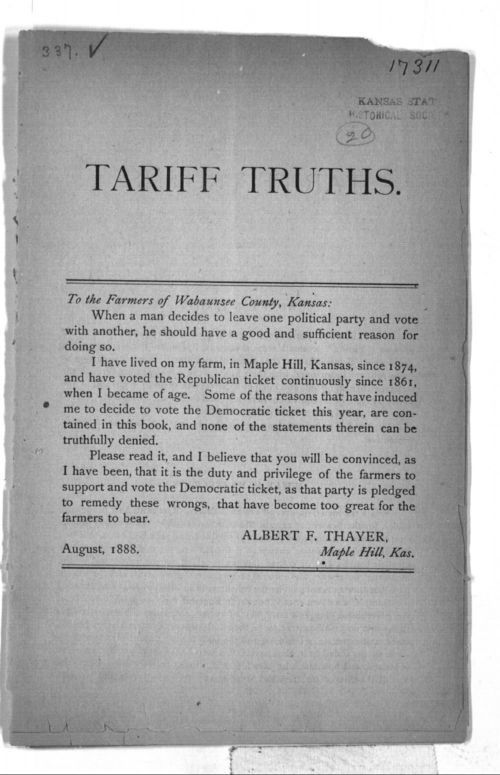 Albert H. Thayer, Tariff Truths - Page