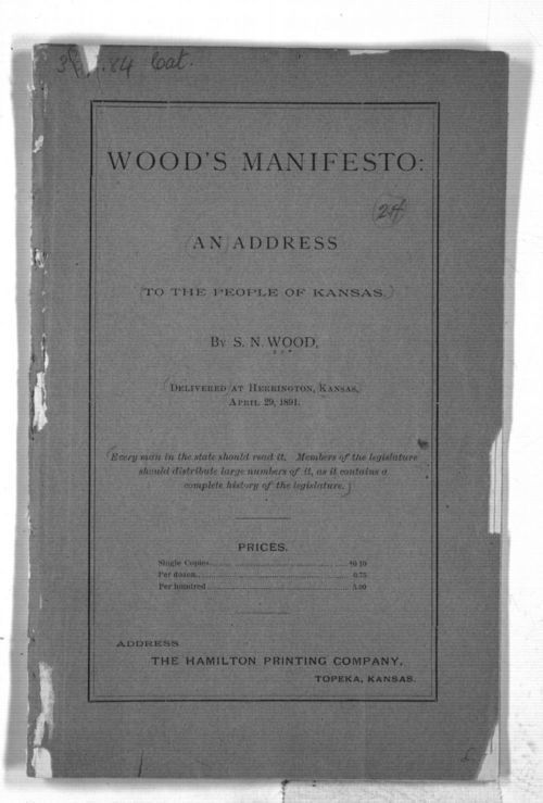 Wood's manifesto:  an address to the people of Kansas - Page