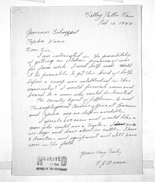 E. J. Brosa to Governor Andrew F. Schoeppel - Page