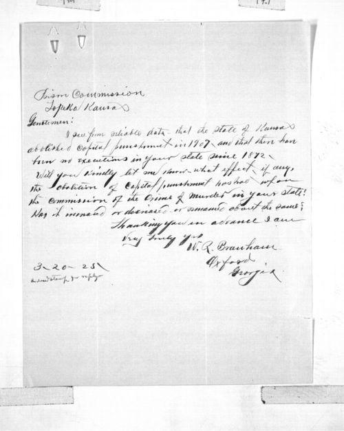 W. R. Branham to the Kansas State Prison Commission - Page