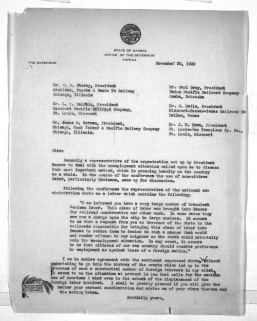 Governor Clyde Martin Reed to railroad executives - Page