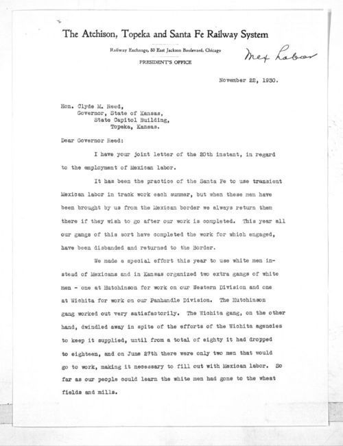 William Benson Storey to Governor Clyde Martin Reed - Page