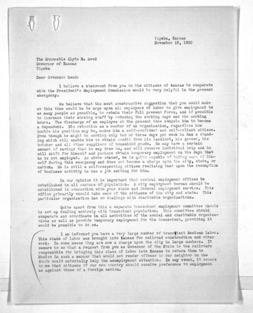 J.F. Lucey to Governor Clyde Martin Reed - Page