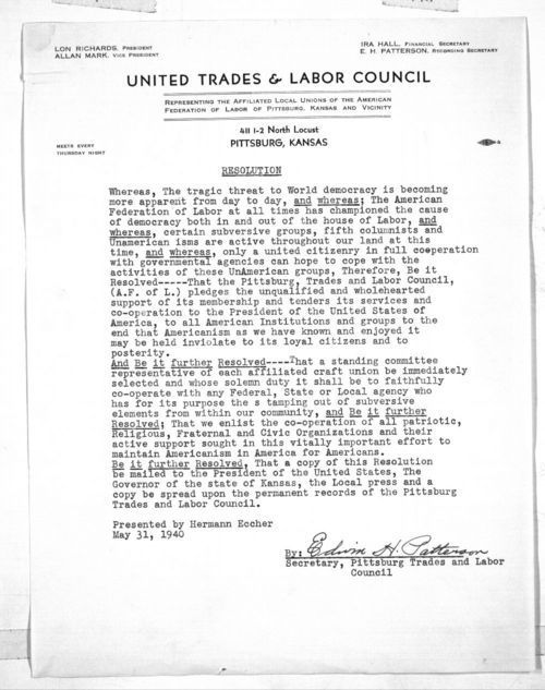 United Trades & Labor Council resolution - Page