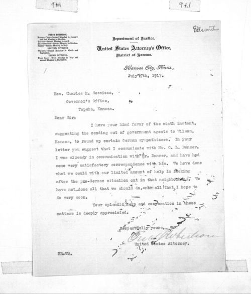 Fred Robertson, United States District Attorney, to Charles H. Sessions, secretary to Governor Arthur Capper - Page