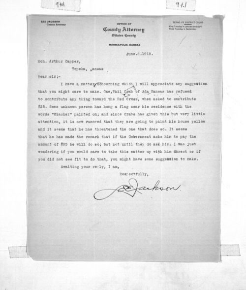 Lee Jackson to Governor Arthur Capper - Page
