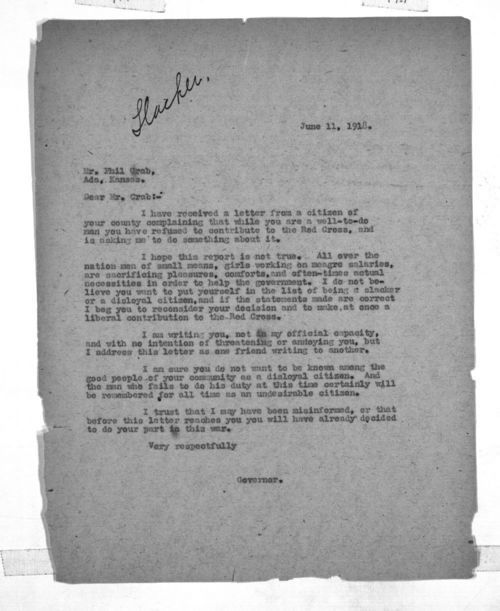 Governor Arthur Capper to Phil Crab - Page